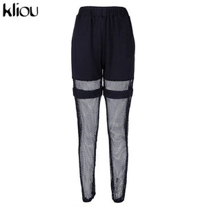 fashion long pants elastic high waist cargo pants half mesh material patchwork 2019 female casual street trousers - shop-bylu