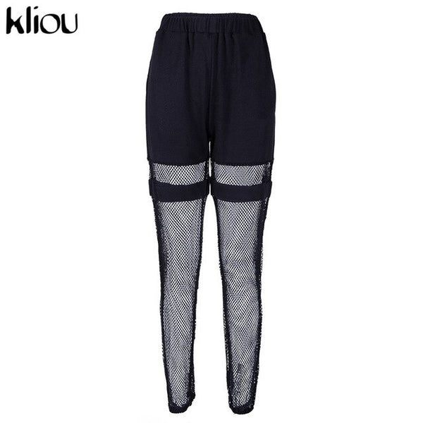 fashion long pants elastic high waist cargo pants half mesh material patchwork 2019 female casual street trousers