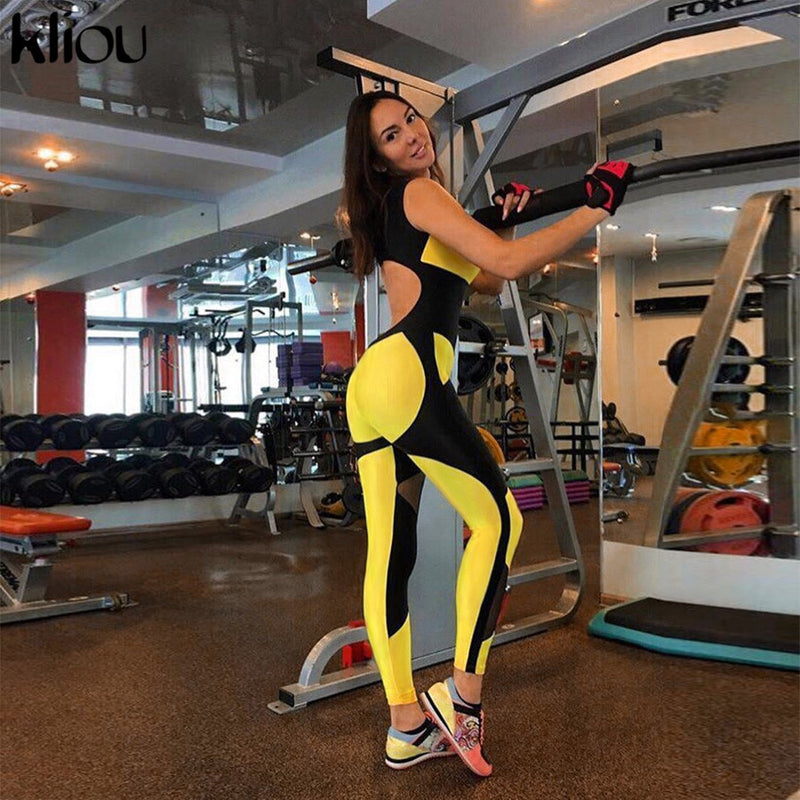 women yellow patchwork sporting jumpsuits elastic