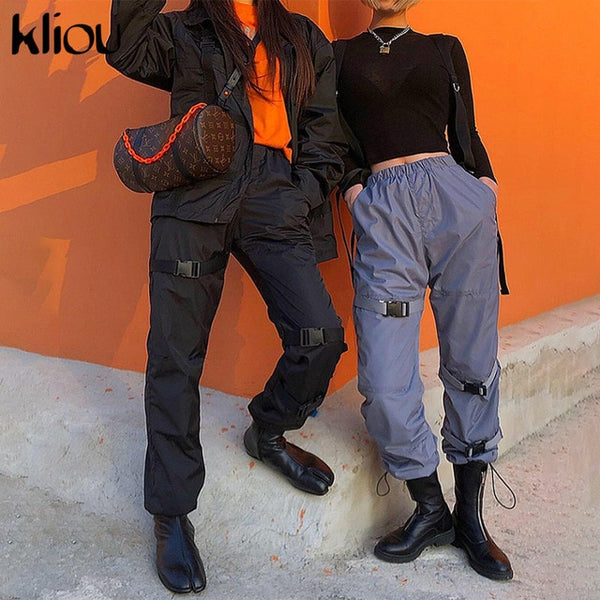 Kliou women fashion casual elastic high waist cargo pants 2019 summer autumn bottoms female work out street solid trousers