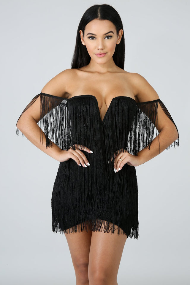 Fringe Dress Sexy Club Dress Bodycon - shop-bylu