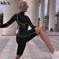 Black Skinny playsuit For Women
