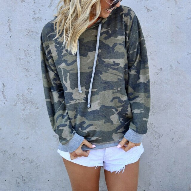 Women Autumn Camouflage Hooded Hoodies Long Sleeve Pullover