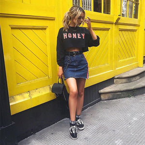New Women Long sleeve crop top hoodies Fashion Streetwear