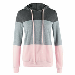 Women Early Fall Patchwork Pullover Hoodies