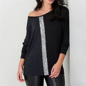 women fashion sequins patchwork casual soft tshirt - shop-bylu