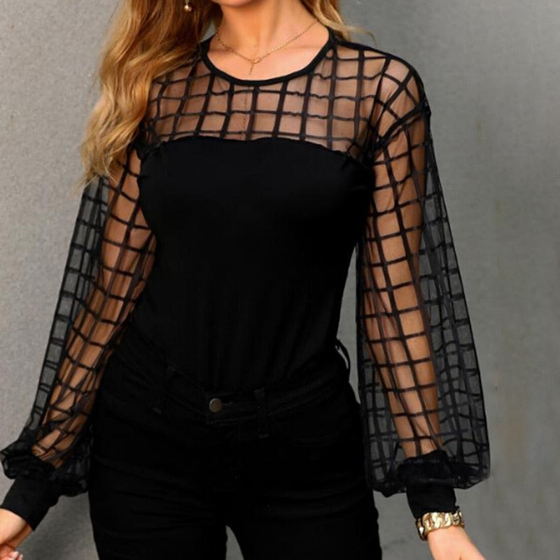 Fashion Sexy Women Mesh Splicing Long Sleeve
