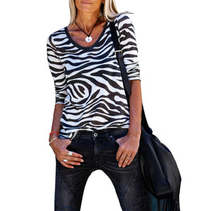 Women Autumn Zebra Striped T-shirts