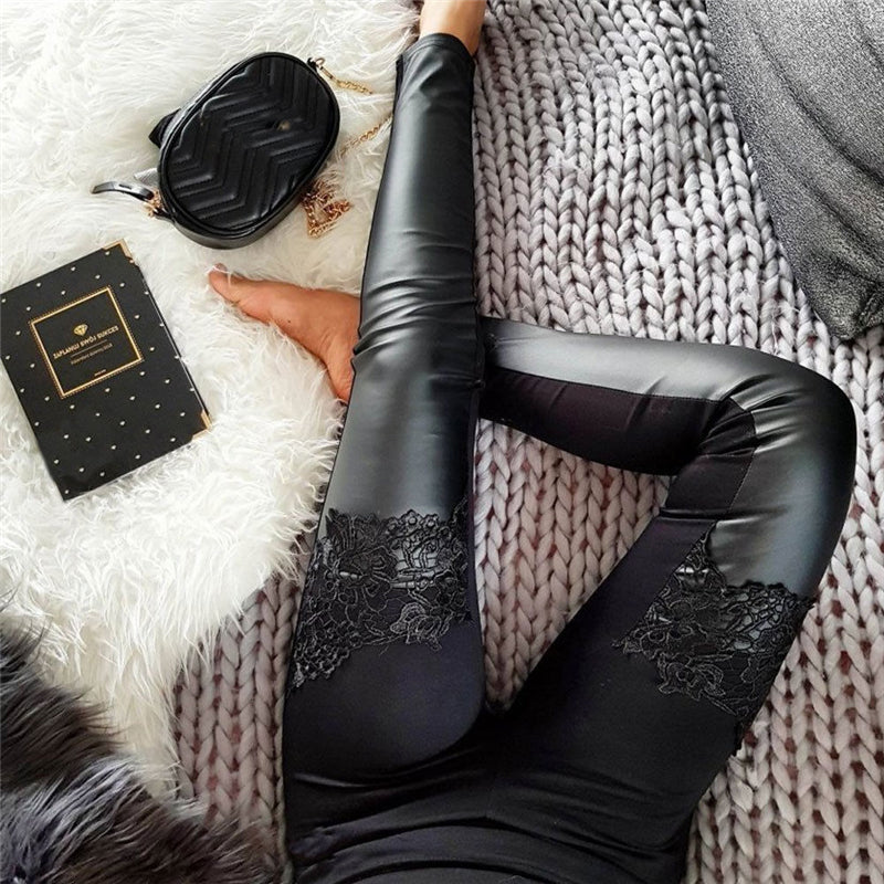 Fashion Womens High Waist Stretch Skinny Shiny PU Leather Pants Vogue Lace Patchwork Faux Leather Leggings Pencil Pants Slim Fit - shop-bylu