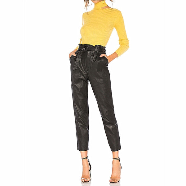 New Winter Women High Waist Ankle-lengh Leather Pants Cigarette Pants With Belt Female High Street Drainpipe Skinny Trousers Hot