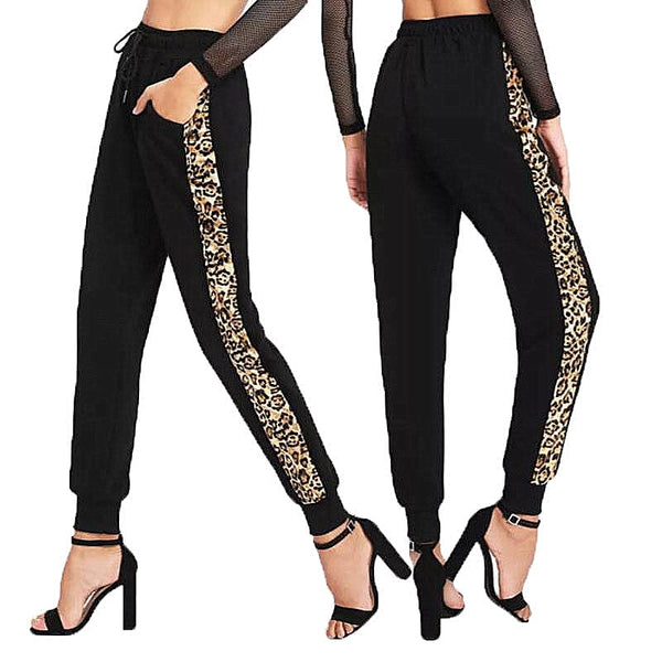 Women High Waist Elastic Waist Jogger Pants Female Casual Ankle-tie Leopard Side striped Long Pants Slim Stretch Trousers New