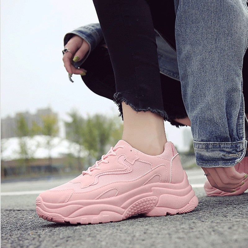 New Arrival Women's Shoes Sneakers Fashion Women Platform Shoes Chunky Lace Up Vulcanize Shoes Womens Female Trainers Dad Shoes - shop-bylu