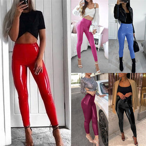 Women Push Up  Leather Leggings High Waist Pants