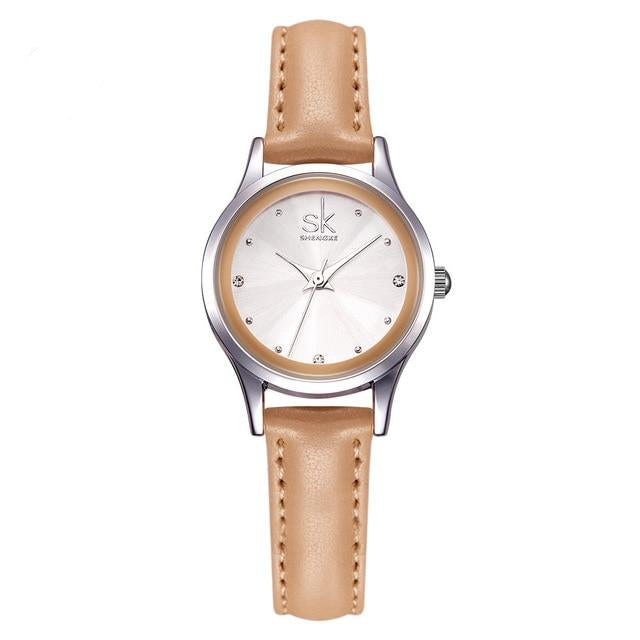 Casual Ladies Watch White Leather Band Stainless Steel Shell Clock