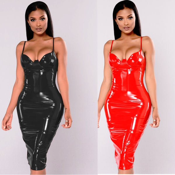 Wet Look Leather Dresses