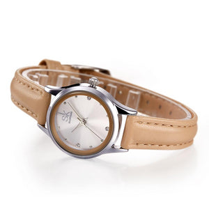 Casual Ladies Watch White Leather Band Stainless Steel Shell Clock - shop-bylu