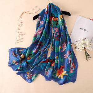 Women Large Silk Bird Print Scarf