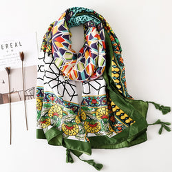 Winter Warm Print Scarf for Women Ethnic Stylish Cotton Scarf