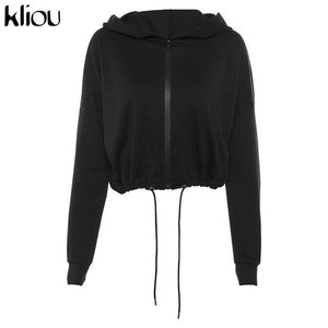 women full sleeve zipper fly hoodies jackets