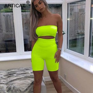 Strapless Backless Bodycon Shorts - shop-bylu