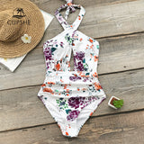 Floral Print Ruched Halter One-Piece Swimsuit Women
