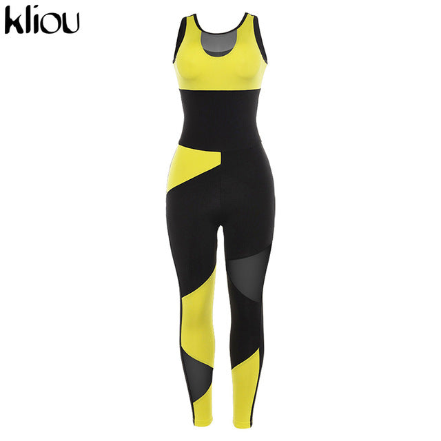 women yellow patchwork sporting jumpsuits elastic - shop-bylu