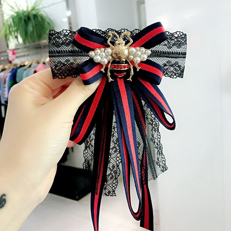 Striped Ribbon Bow Lace Pearls Broches for Women