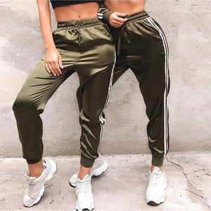 women new elastic waist trousers sweatpants - shop-bylu