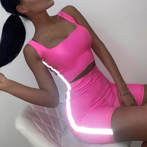 Neon Reflective Striped Biker Shorts