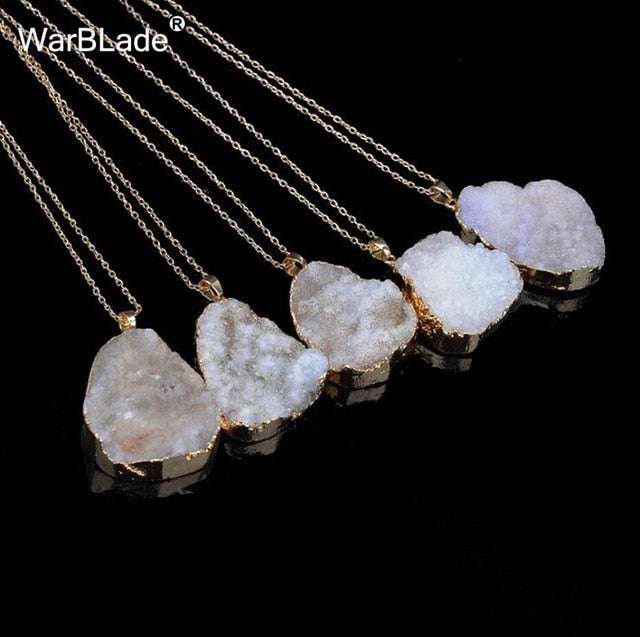 Natural Stone Quartz Pendant Necklace - shop-bylu