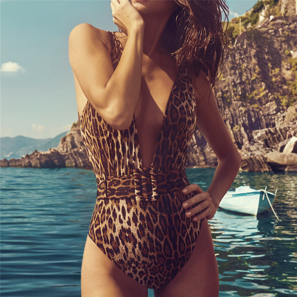 One Pieces Swimsuit Women V neck Leopard Slim Swimwear - shop-bylu