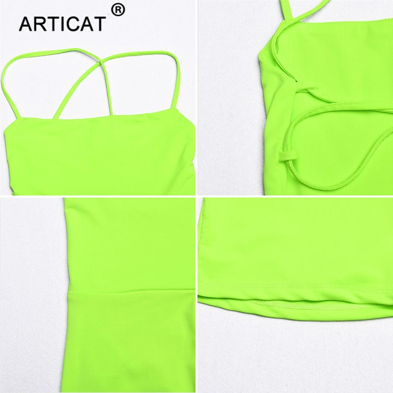 Neon Bandage Backless Jumpsuit
