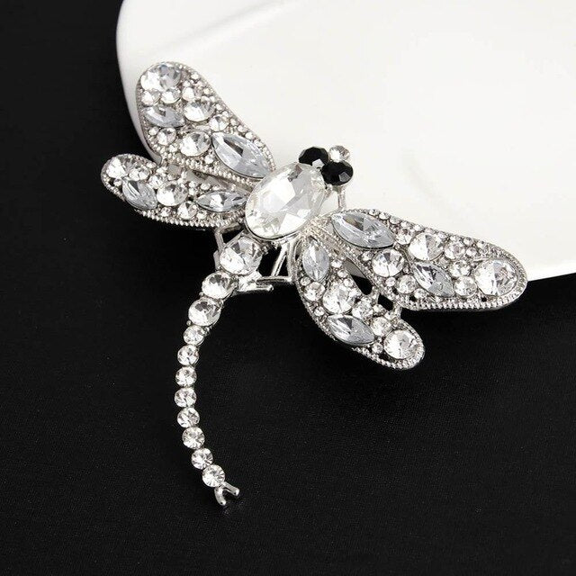 Dragonfly Brooches For Women with Vintage Crystal