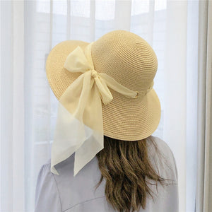 Women Straw Sun Soft Chiffon Hat