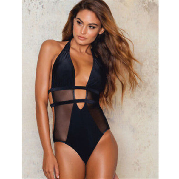 Women Swimwear Black One Piece Swimsuit Mesh Push Up Beachwea