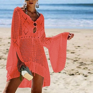 Knitted White Beach Dress Cover Up Swimwear Women