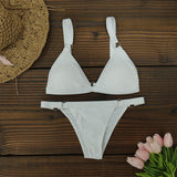 Solid Top Bikini Female Swimsuit