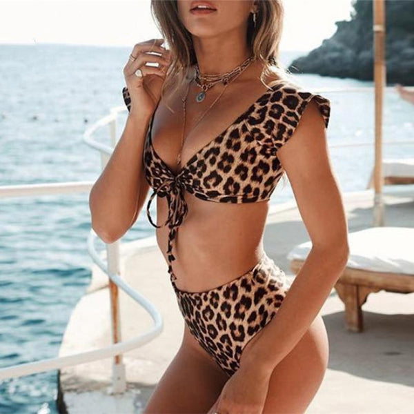 Women Swimwear Bow Leopard Print Push Up Beach Bikini Swimsuit