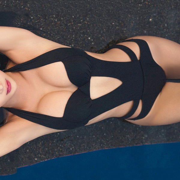 Black Halter Bikini Cut Out Bandage Women One Piece Swimsuit