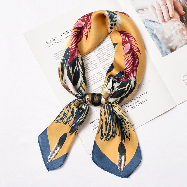 Square Small Bandanna Feather Print Scarf - shop-bylu