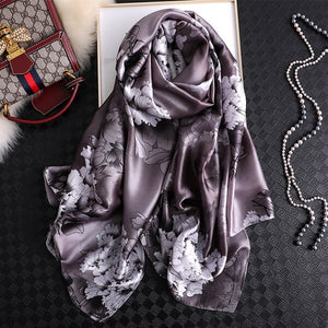 Luxury Floral Women Silk Scarf