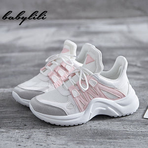 Sneakers Women Summer Vulcanize Female Fashion Sneakers Lace  Soft Basket Femme Dad Platform Breathable Mesh Sneakers for Women - shop-bylu