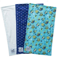 Navy & Light Blue Owl Burp Cloth Set - Grey Duck & Co.
