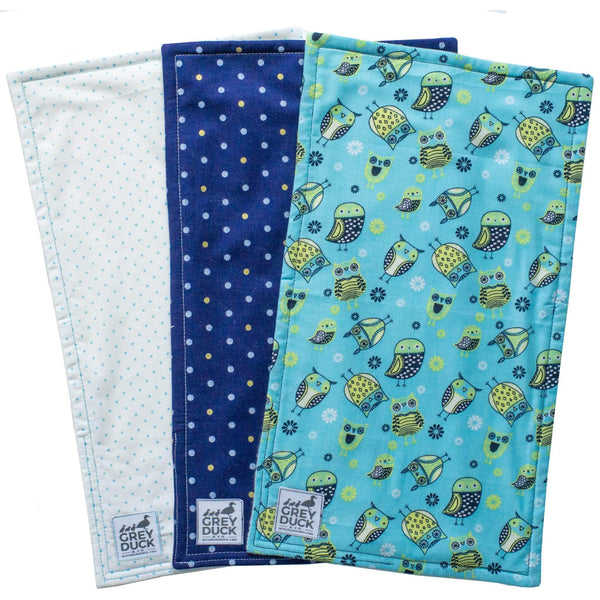 Navy & Light Blue Owl Burp Cloth Set