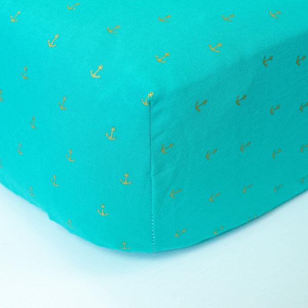 Teal Fitted Crib Sheet with Gold Anchors