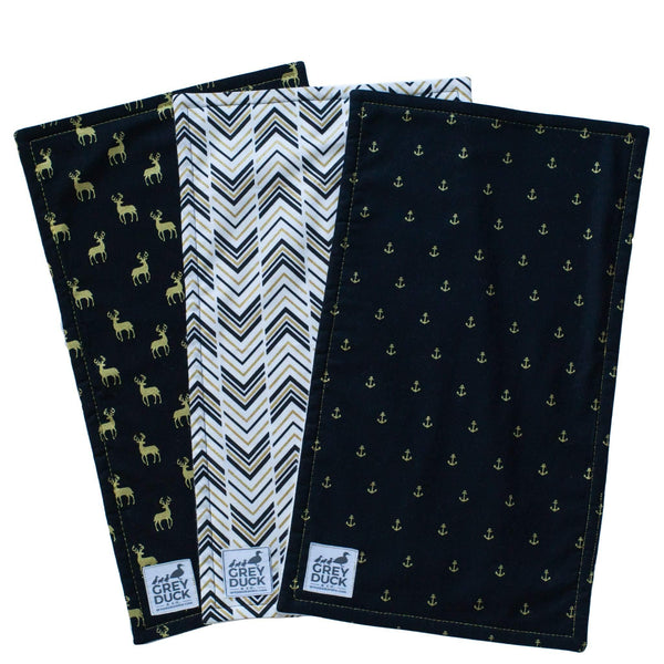 Black & Gold Burp Cloth Set
