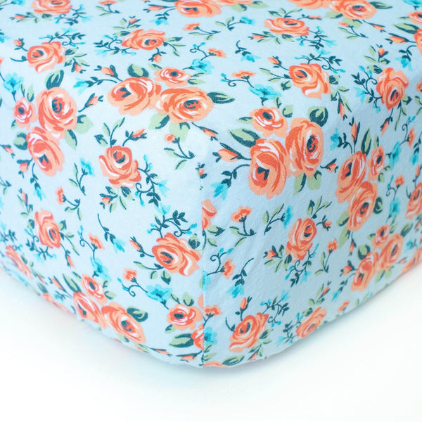 Light Blue Crib Sheet with Pink Floral