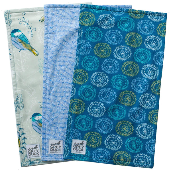 Teal & Blue with Yellow Birds Burp Cloth Set