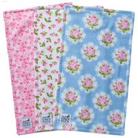 Light Blue & Pink Floral Burp Cloth Set