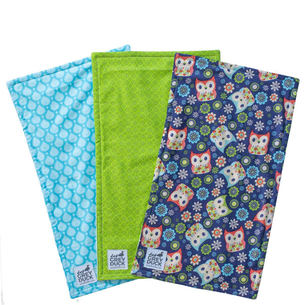 Blue & Green with Owls Burp Cloth Set